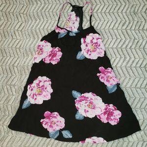 Forever 21 Black Floral Flowy Summer Tank Top.
